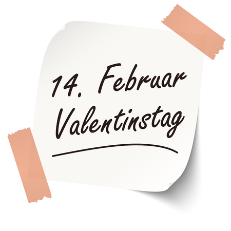 community recognition: Reminder February 14 Valentines Day on little white paper (text in german) Illustration