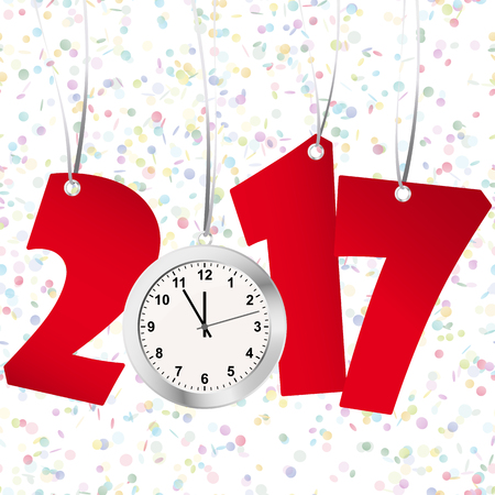 urgently: red numbers showing New Year 2017 with silver clock and confetti background