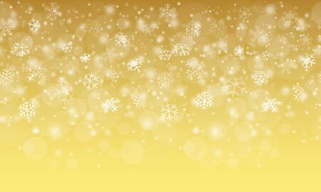 seamless white snow fall background with golden colored gradient  イラスト・ベクター素材