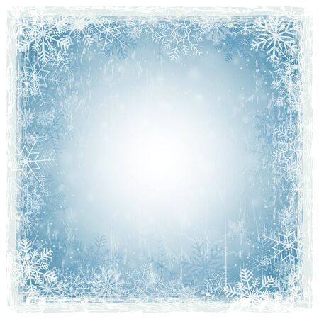 wintery: blue abstract background with shiny stars, snow flakes and white grunge frame Illustration