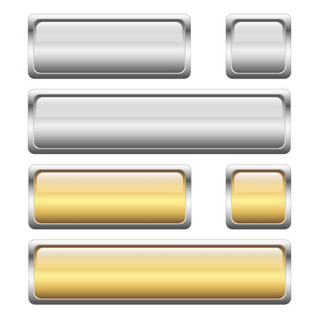 silver frame: collection of silver and golden buttons with shiny silver frame Illustration