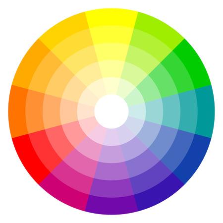 illustratie van de boekdrukkunst kleurenwiel met twaalf kleuren in gradaties Stock Illustratie
