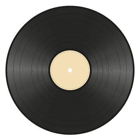black vinyl record with empty ocher label on white background Illustration