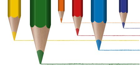 office supplies: six different colored pencils draw lines from right to left Illustration