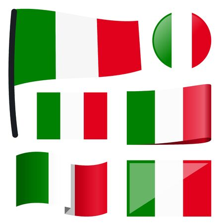 customercare: collection of different swung flags of country Italy
