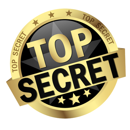 colored round button with banner Top Secret Illustration
