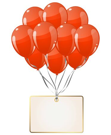 flying colored balloon with empty white golden hangtag