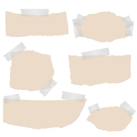 Collection of brown scraps of paper with colored tape
