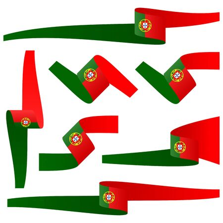 banderole: Collection of seven different banners with Portuguese country colors