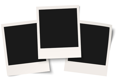 informing: Old empty photo frames isolated on white background Illustration