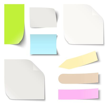 Collection of different colored sticky notes with shadow Illustration