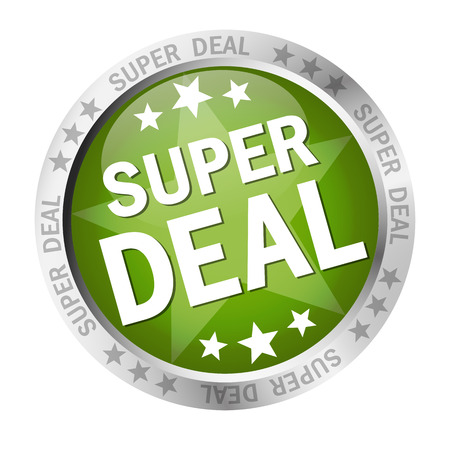 online purchase: Colored button with banner and text Super Deal Illustration