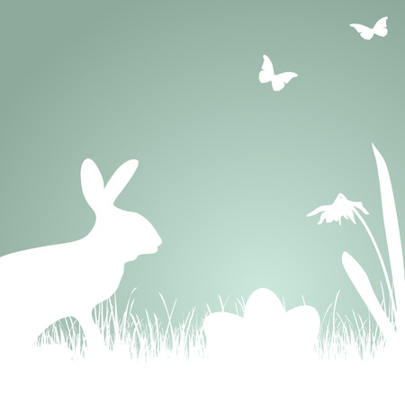 coloured background: Bunny silhouette with blue coloured background for Easter time