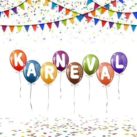 background with different colored balloons, confetti, and colored garlands for carnival time Illustration