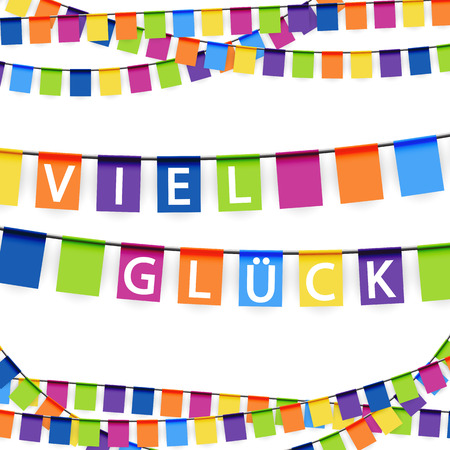 banderol: colored garlands background with white text good luck (in german)
