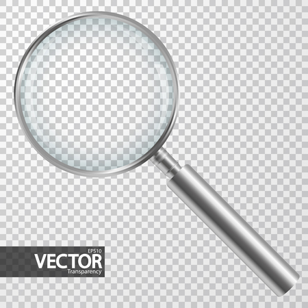 Silver magnifier with checkered background showing transparency effect