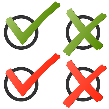 Collection of red and green check marks and crosses to symbolise success
