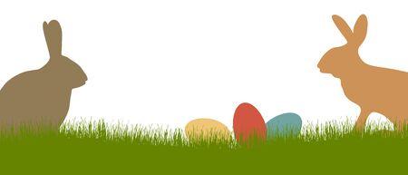 緑の芝生とイースターの時期に卵とブラウン ・ バニー シルエット  イラスト・ベクター素材