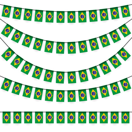 national colors: Different garlands with national colors of brazil flag