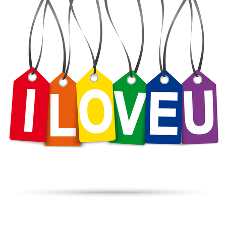 affinity: six colored hang tags with text I love U