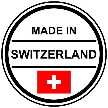 banderole: Round stamp with text Made in Switzerland and country flag