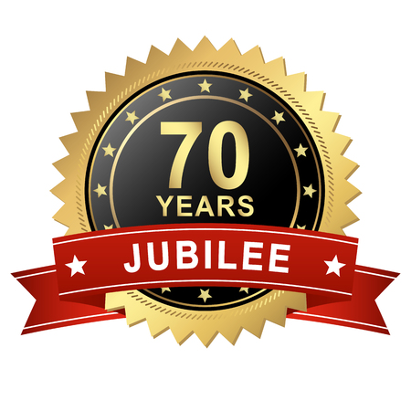 round golden button with Banner for 70 years jubilee