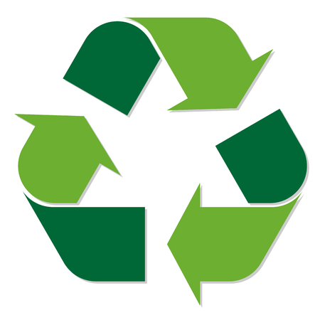 Simple recycling symbol colored green with three arrows going around. Illustration