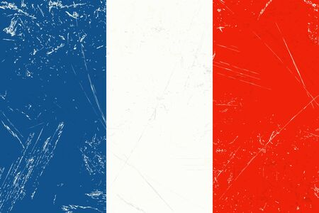 vintage grunge flag of country France with scratches Ilustrace