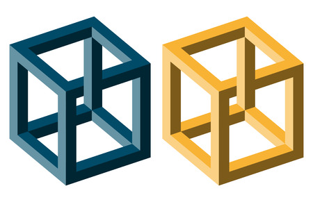 unrealistic: Unreal optical illusion cubes colored blue and yellow.