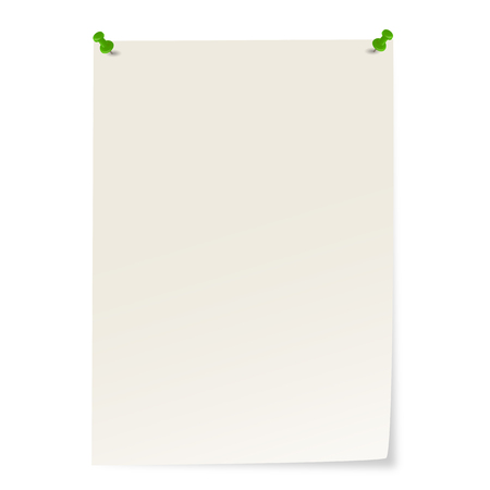 Blank gray paper with green pins and corner sticking out. Ilustrace
