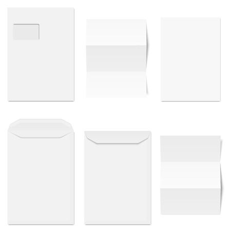 Collection of white envelopes with different white copy papers