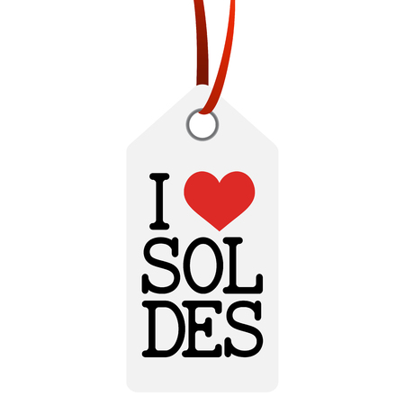 white hang tag with text I LOVE SALE (in french) Illustration