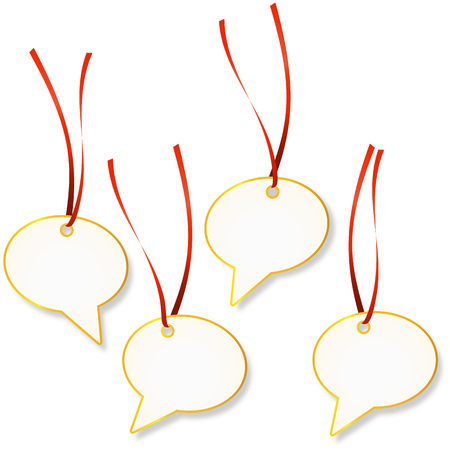 Set of pendants with silhouette of speech bubbles and red ribbons.