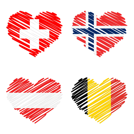 norway flag: collection of line drawing hearts with country flags of switzerland, belgium, austria and norway