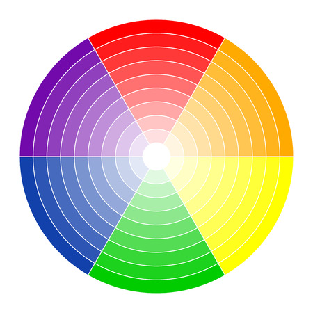 Color circle with six colors in different gradients