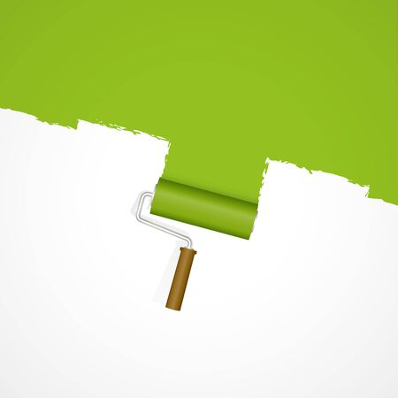 white background with paint roller painting fresh green color