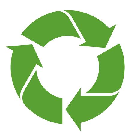 モダンな丸いリサイクル印は白地緑色。  イラスト・ベクター素材