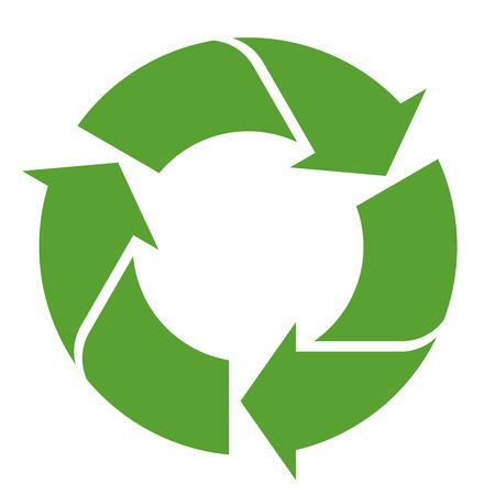 Modern round recycling sign colored green on white background.