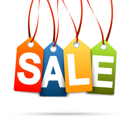 Four colored hang tags with text SALE Illustration