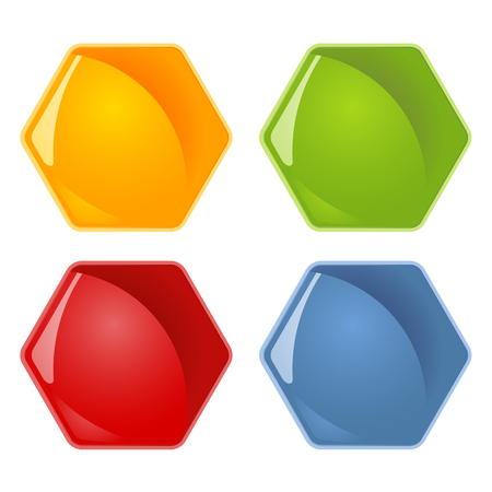 Four honey combs symbols in different colors.