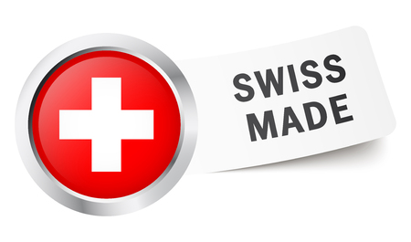 swiss insignia: Round button with Swiss flag and text SWISS MADE.