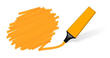 Orange colored highlighter marking a speech bubble. 일러스트