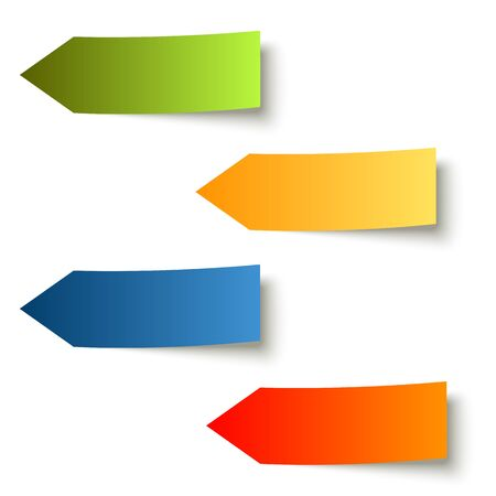 Four colored sticky notes arrow with shadow on white background. Illustration