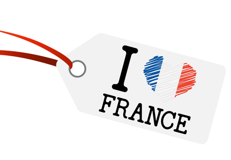 White hang tag with text I LOVE FRANCE. Illustration