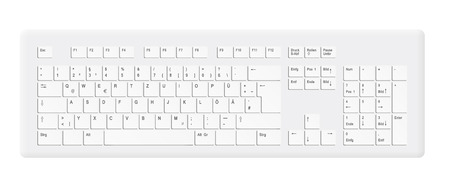computer keyboard: realistic white standard personal computer keyboard with all keys