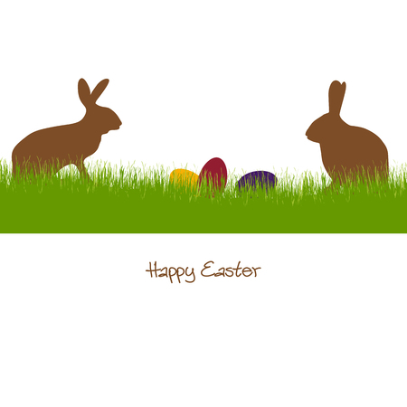 Colored silhouette of Easter rabbits with eggs lying in the grass.
