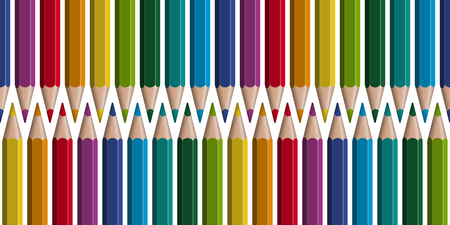 seamless arrangement of colored pencils in a row