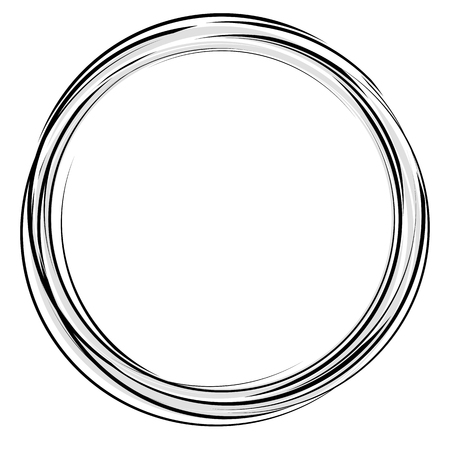 stroked: Abstract drawing of black round circles with white middle.