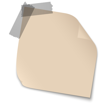 chit: Brown sticky note with brown adhesive tape on white background. Illustration