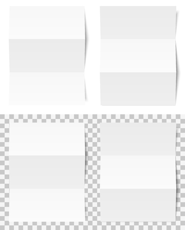 two folded empty papers on white and checkered background showing transparency